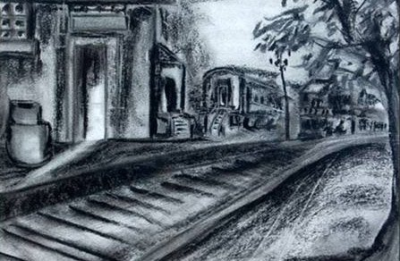 'Forgotten Tracks' Work in charcoal
