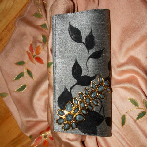 Peacock Embroidered silk clutch
