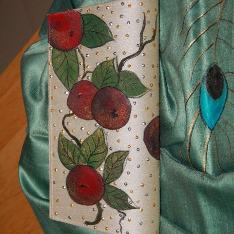 Handpainted & pearl beaded silk clutch with leather trim