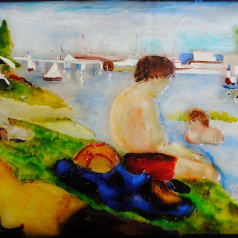 Fused Glass Panel, inspired by Impressionists