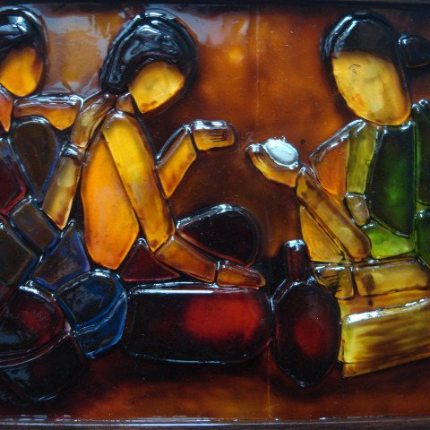 Fused Glass Panel, inspired by Amrita Shergil