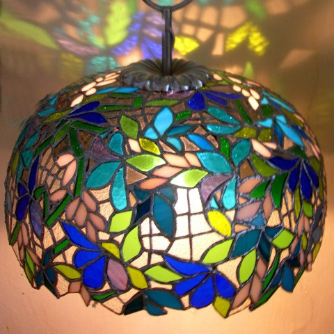 Blue & Green Stained Glass Dome Lamp