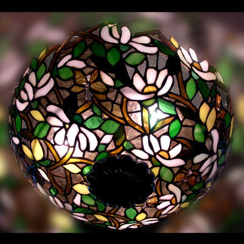 Magnolias Theme Stained Glass Dome Lamp