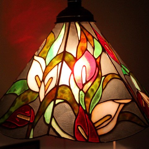 Anthuriums Theme Stained Glass Lamp