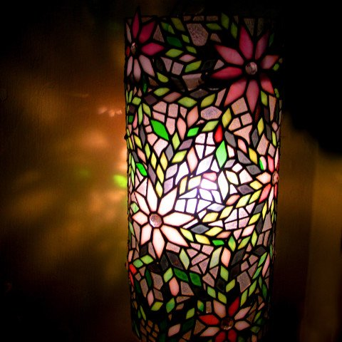 Springtime Theme Stained Glass Pillar Lamp