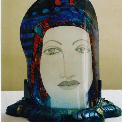 A Slumped Glass Sculpture of an Eqyptian Queen