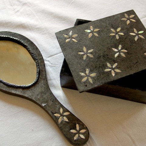 Mother of Pearl inlay jewellery box & hand mirror