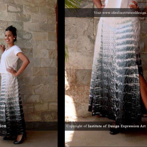 Cotton, panel skirt in Shibouri dyeing