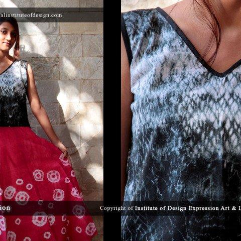 Shibouri dyed cropped top & bandhini dyed skirt