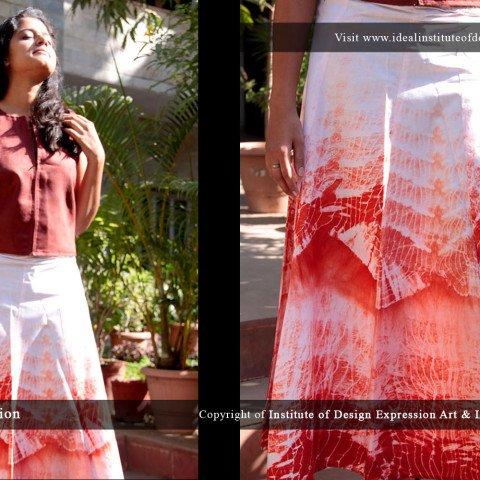 Shibouri dyed skirt & faux leather sleeveless jacket