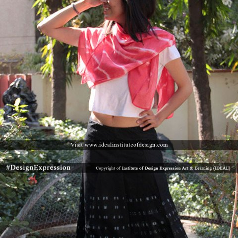 Shibouri dyed skirt white cropped top with dyed scarf