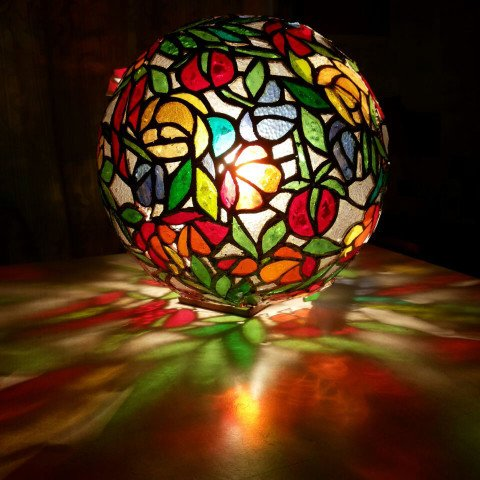 Stained Glass Globe Lamps - Tomatos Restaurant
